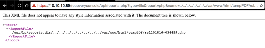 Reading Source of Reports PHP file example